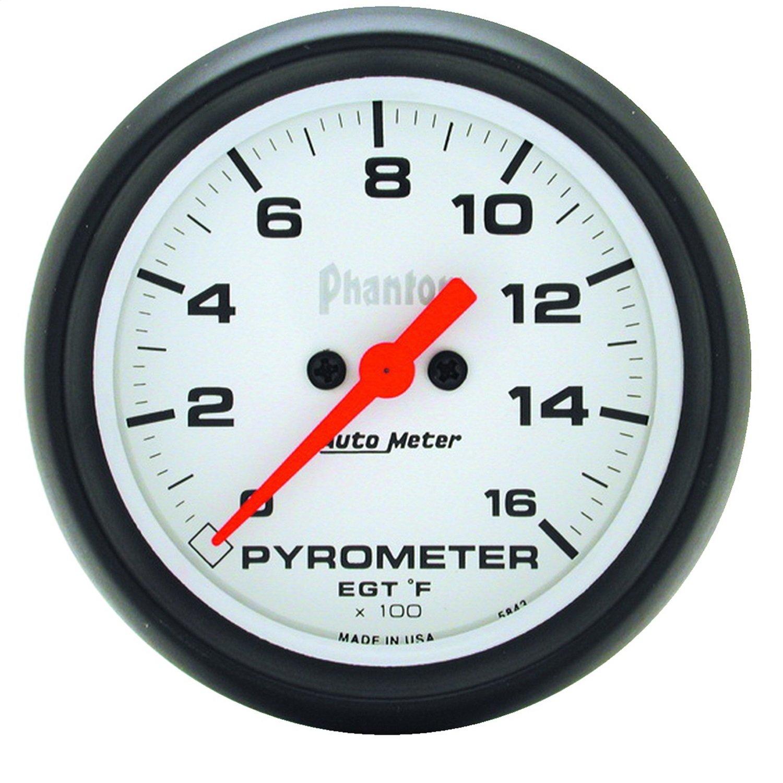 0-1600 Degree F, 66.7mm Auto Meter 5844 Phantom 2-5//8 Electric Pyrometer