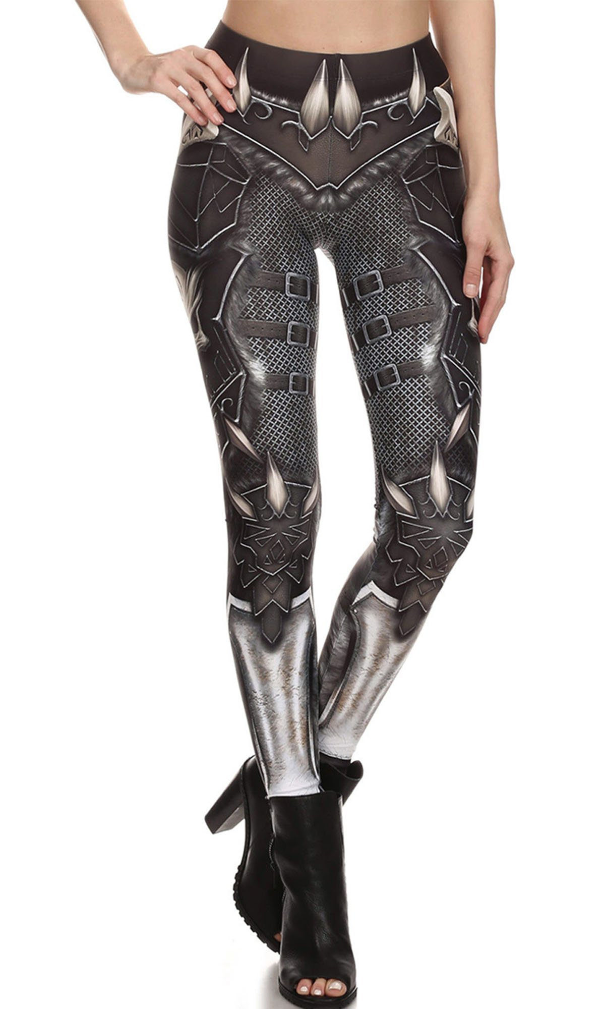 F style Women Skull Pattern Leggings Printed High Waist Slim Pencil Pants,Grey 627,One Size