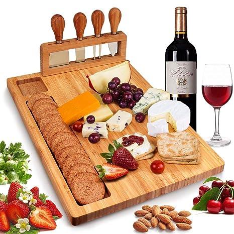 Amazon.com: Juego de tablas de queso de bambú, plato de ...