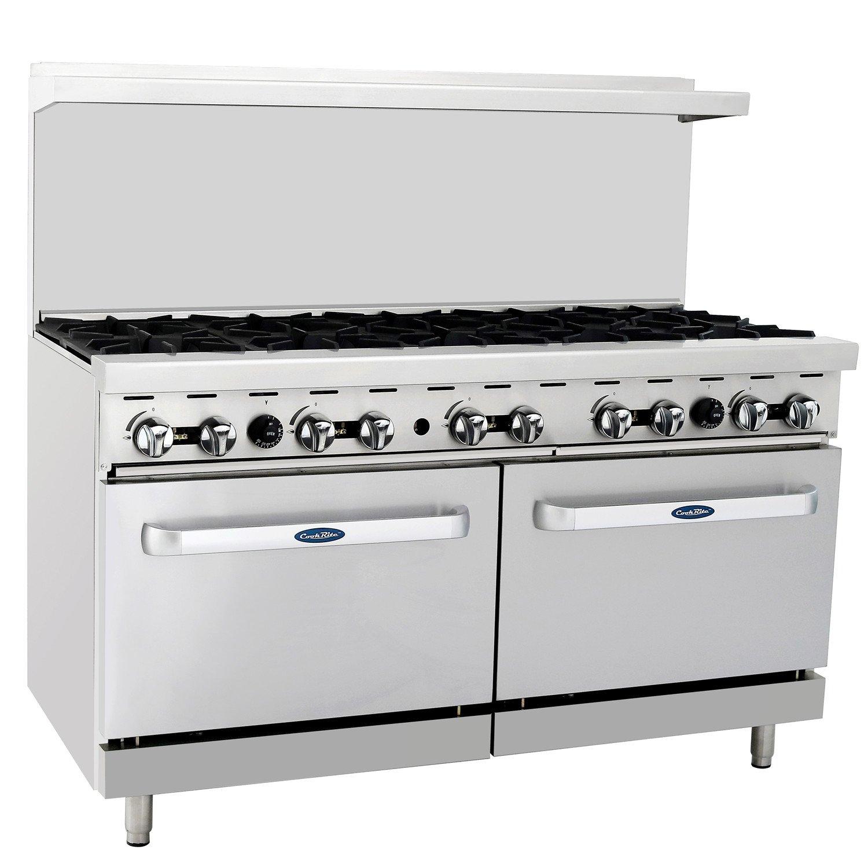 CookRite ATO-10B Commercial Manual Liquid Propane Range 10 Burner Hotplates With 2 Standard Ovens 60''-284000 BTU
