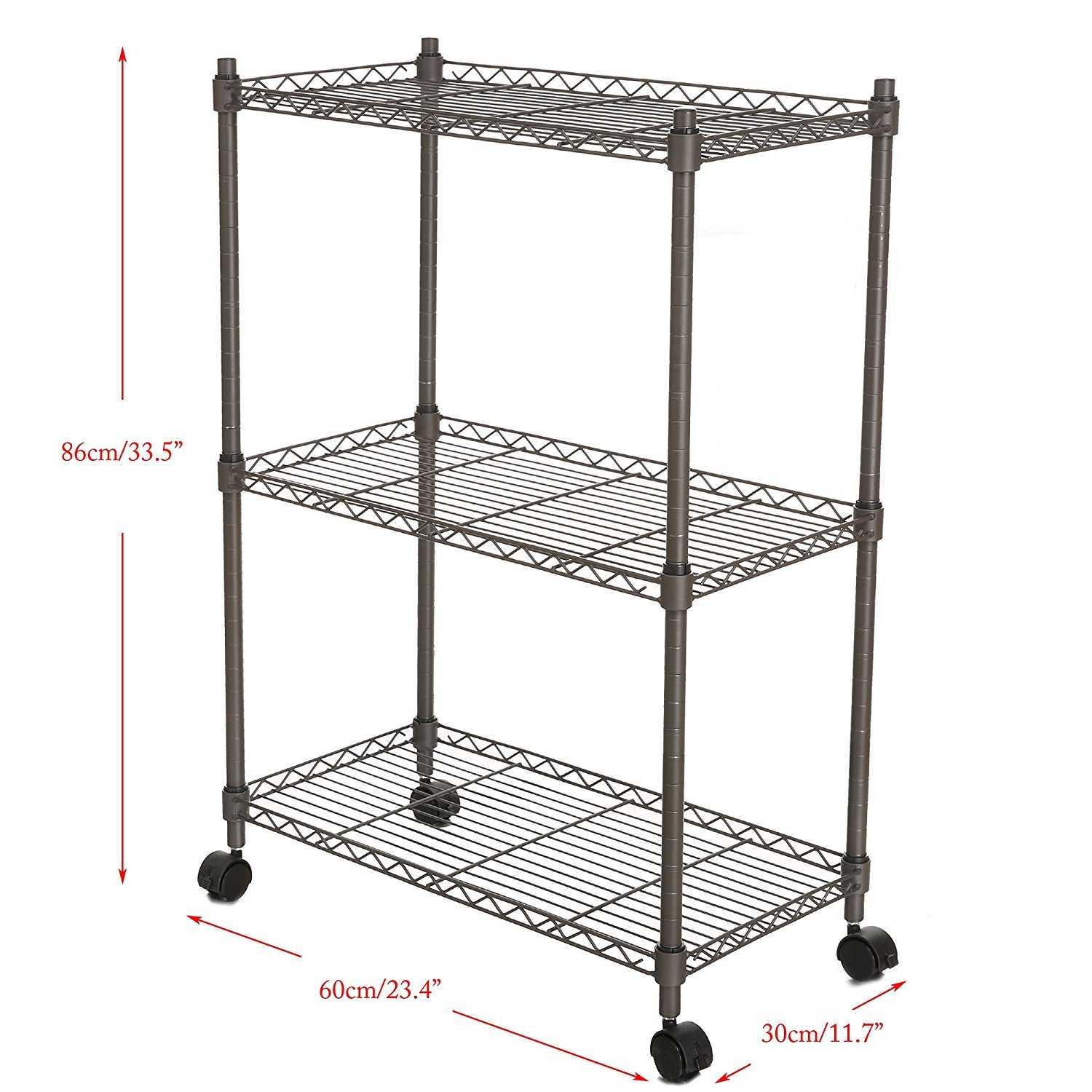 Leoneva 3-Tier Adjustable Rolling Chrome Cart Wire Shelving Rack with Locking Wheels, 11.7''(D) x 23.4''(W) x 33.5''(H), Gray
