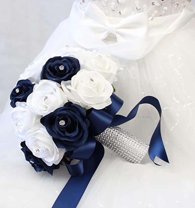Amazon.com: Bridal Bouquet - Navy Blue White with Ribbon and ...