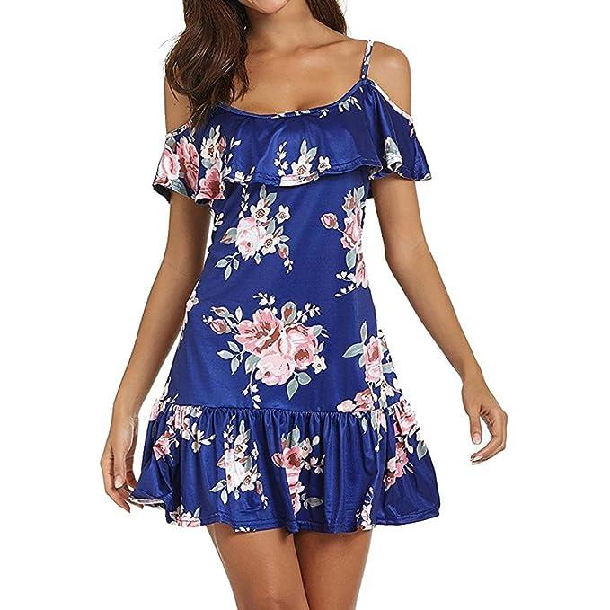 Ansenesna Kleid Damen Boho Sommer Kurz Blumen Elegant Mini Strandkleid Off  Shoulder A Linie Ärmellos Party c470dadf09
