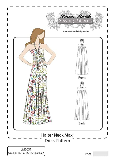 Laura Marsh Designs LM0031 Sewing Pattern Halter Neck Maxi Dress for ...