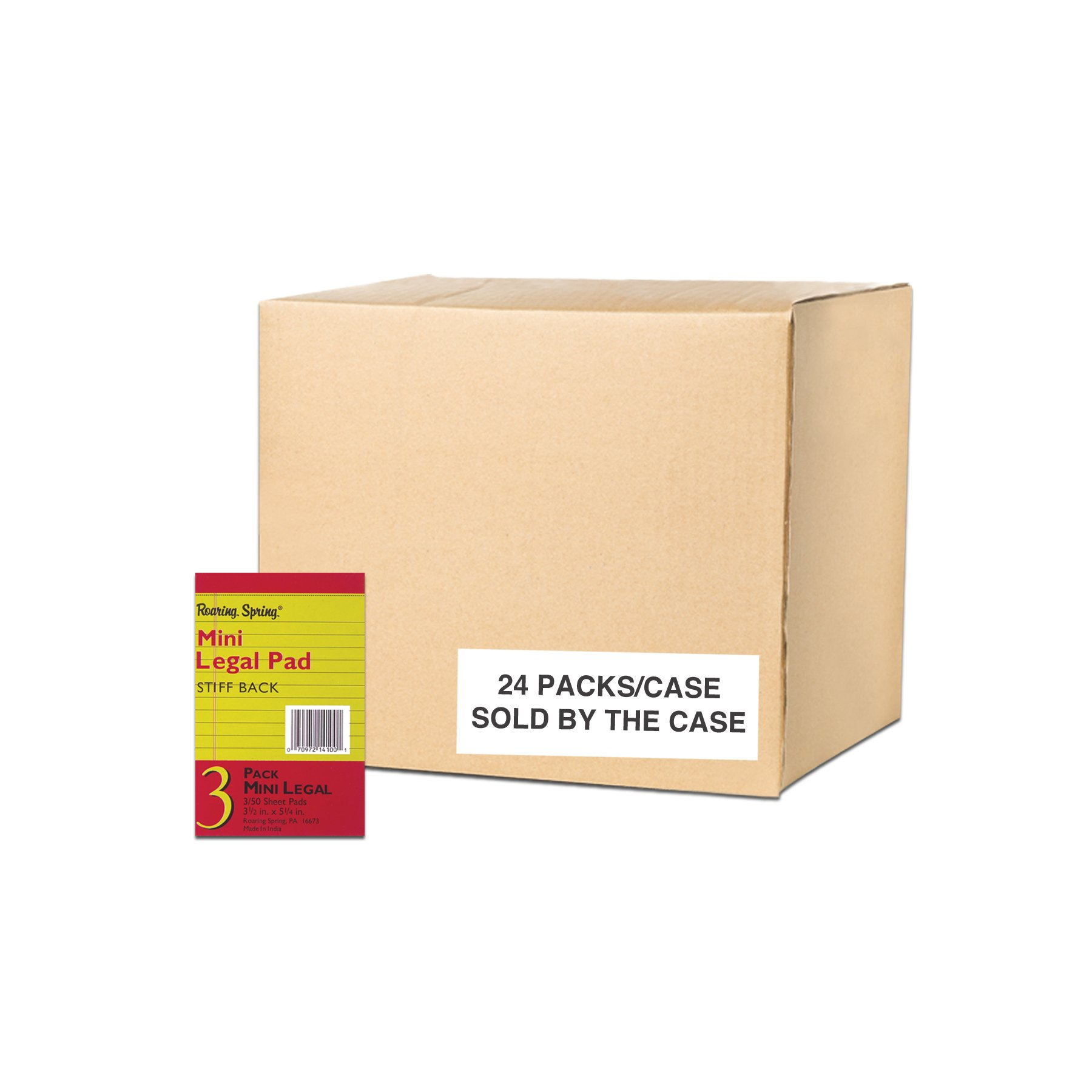 Case of 24 Packs Mini Legal Pads, 3.5''x5.25'', 50 sheets Canary Paper/Pad, 3 Pads/pack, narrow Ruled, taped, stapled and Perforated by Roaring Spring