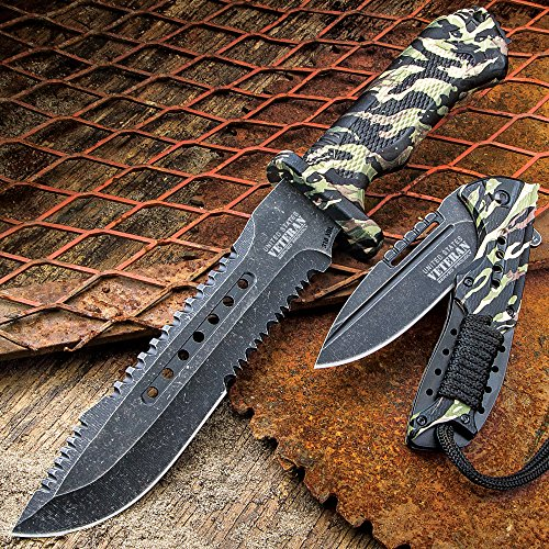 SOA Veteran Tribute 2-Piece Knife Set - Bowie Fixed Blade, Assisted Opening Folder Pocket Knife - 3Cr13 Stainless Steel - Vintage Jungle Camo - Glass Breaker - Serrations - Proudly Served Laser Etched - Bravo Steel Knife