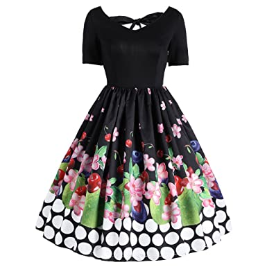 Zwingtonseas Womens Plus Size Floral Print Short Sleeve Bowknot Dancing  Party Cocktail Party Flare Dress at Amazon Women s Clothing store  68930084c