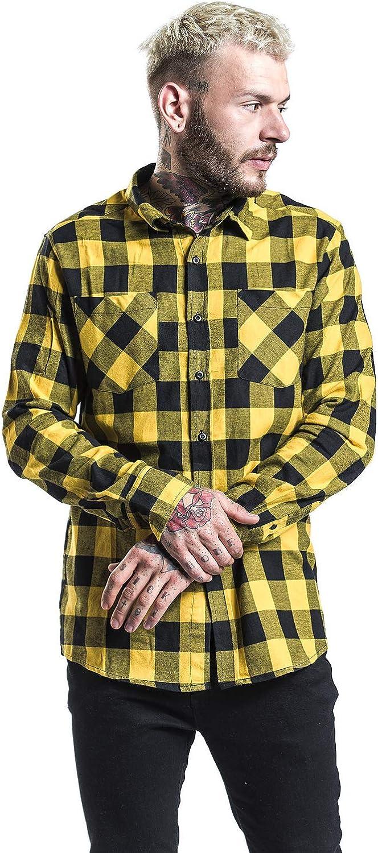 Urban Classics Camisa de Franela a Cuadros Hombre Camisa de Franela Negro/ Amarillo, Regular: Amazon.es: Ropa y accesorios