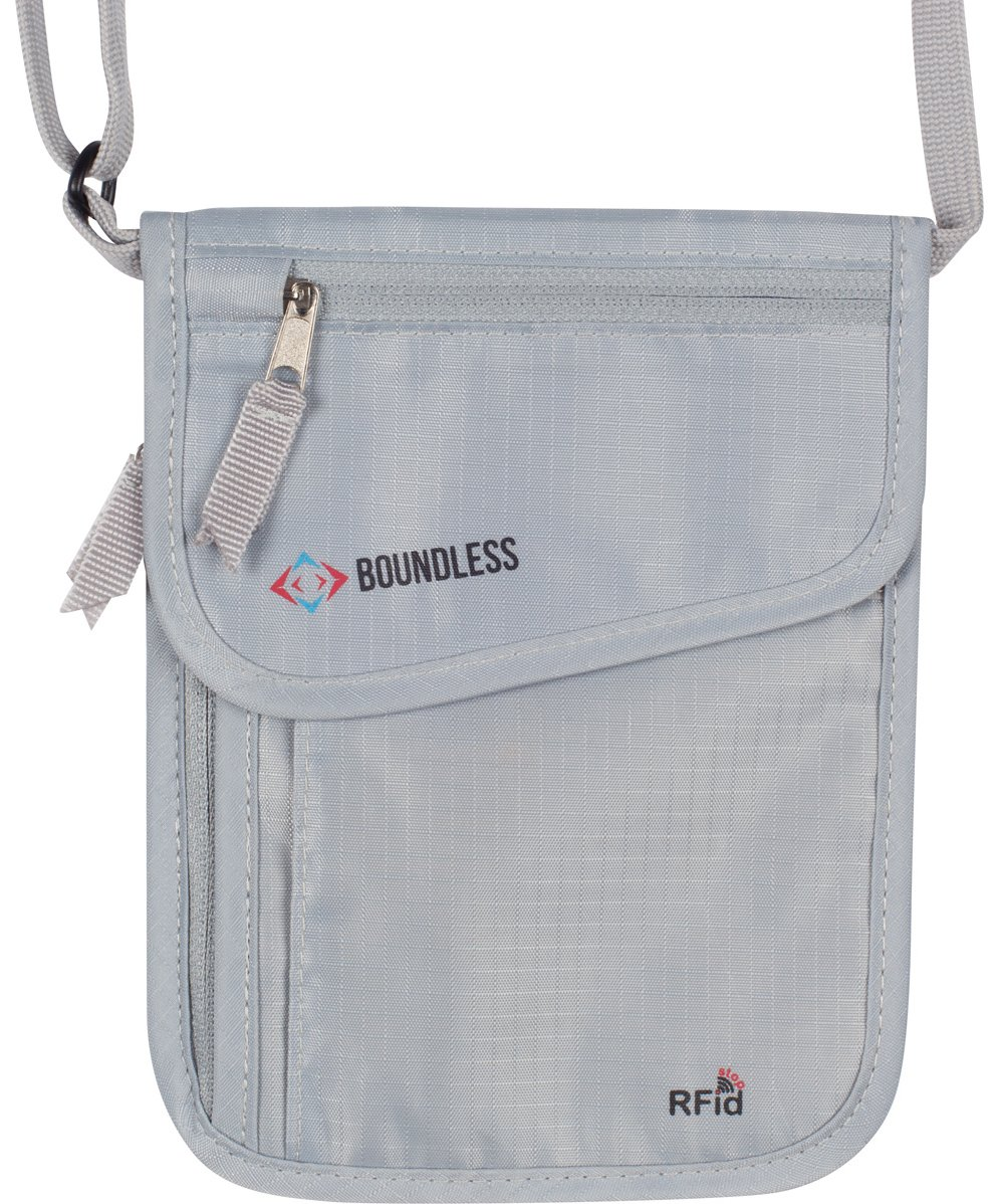 Boundless Neck Wallet with RFID Blocking - Concealed Travel Pouch & Passport Holder (Gray)