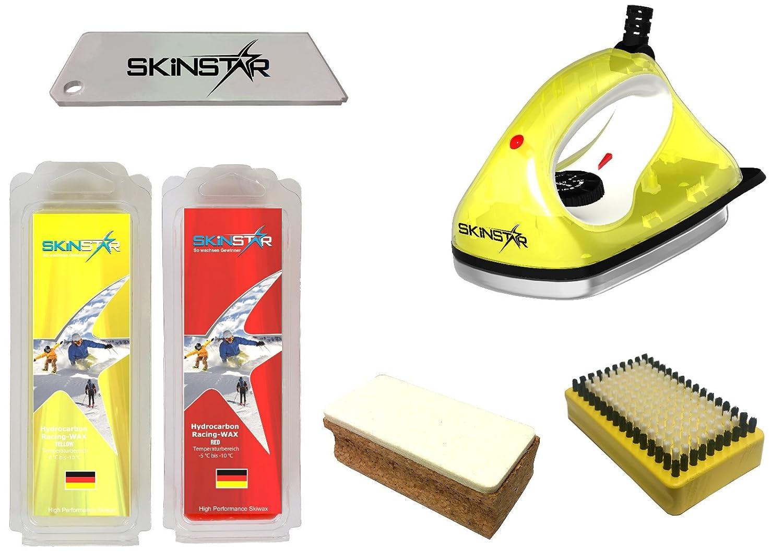 SkinStar Starter Ski Wachs Set, Wachsbügeleisen Bürste Hydrocarbonwachs 6-teilig