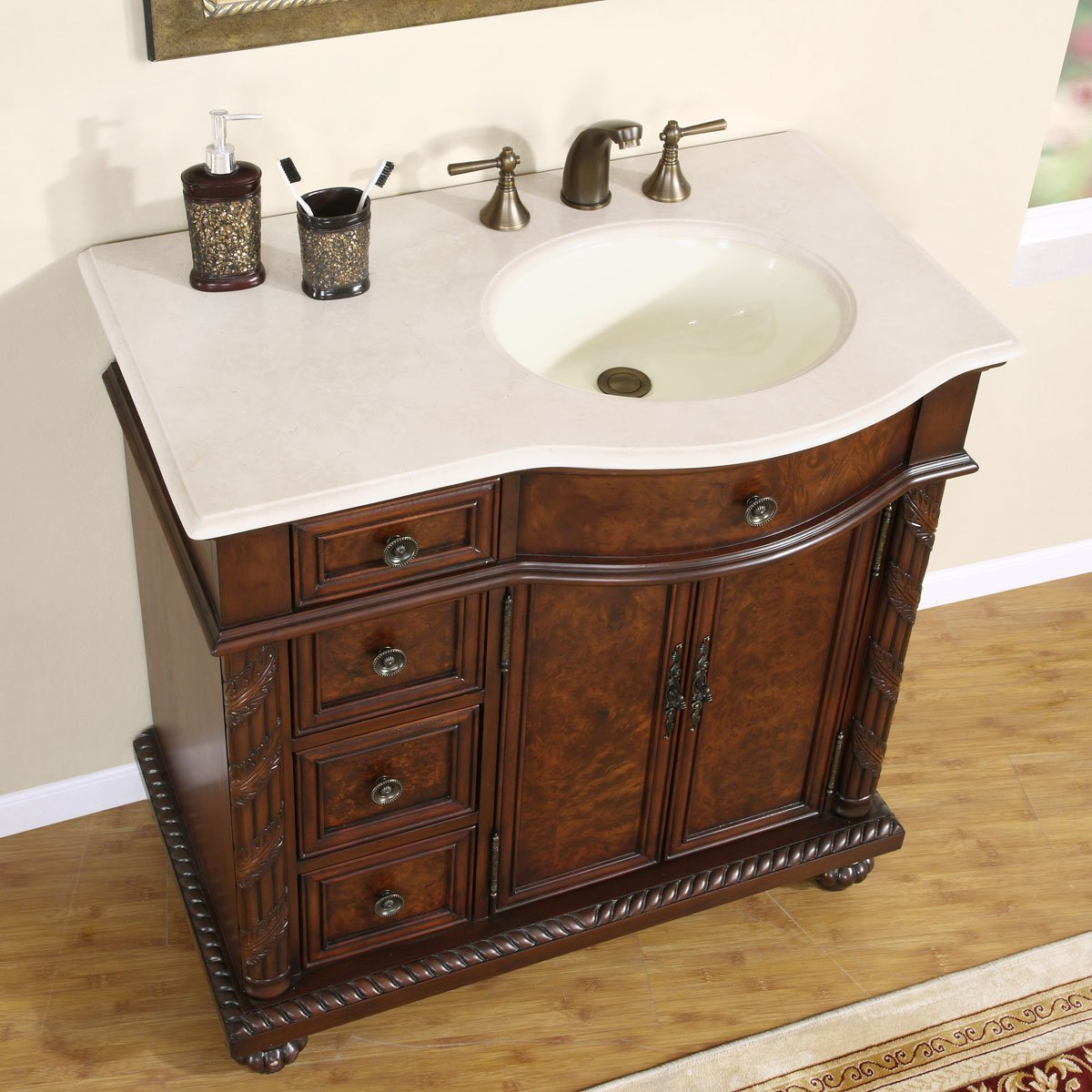 Silkroad exclusive 58 inch marble stone top bathroom vanity lavatory - Amazon Com Silkroad Exclusive Marble Top Single Off Center Sink Bathroom Vanity With Cabinet 36 Inch Home Kitchen