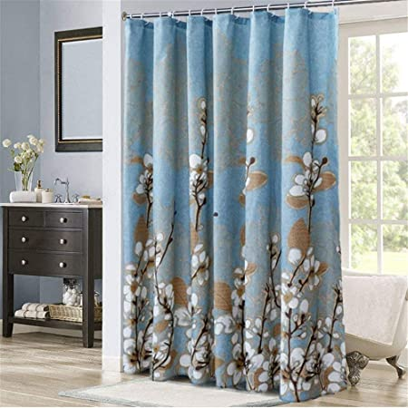 YuLl Bathroom From The Punch Waterproof Thick Polyester Shower Curtain Kit Wall Mould Resistant Nordic