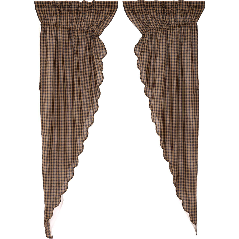 VHC Brands Primitive Curtains Black Rod Pocket Cotton Drawstring Ties Check Prairie Panel Pair Raven