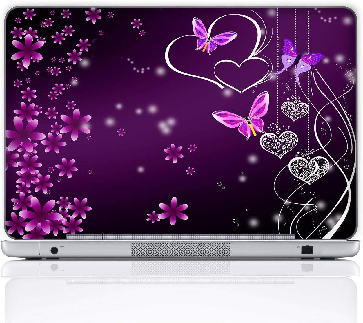 Meffort Inc 15 15.6 Inch Laptop Notebook Skin Sticker Cover Art Decal (Included 2 Wrist pad) - Purple Butterfly Heart