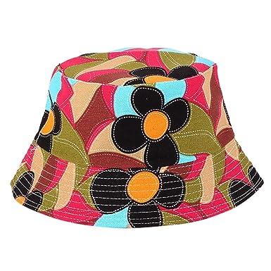 930531ddf50 Bucket Hats Jamicy Women Men Fashion Flower Print Bucket Hats Casual Sports  Hip Hop Fisherman Hat (C) (A2)  Amazon.co.uk  Clothing