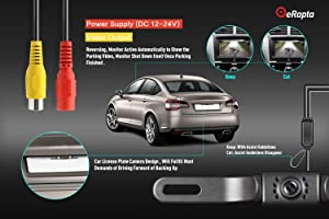 eRapta ERT01 2nd Generation Car Rear View Reversing Backup Camera with 149°Perfect View Angle Design 8 LED Lights Night Vision 9 Level Waterproof Universal Car Backing Camera