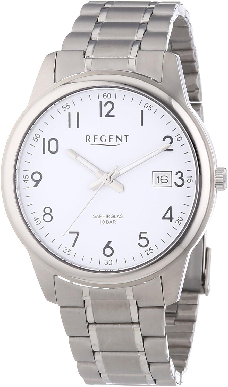 Regent - Reloj Analógico de Cuarzo para Hombre, Correa de Titanio Color Plateado