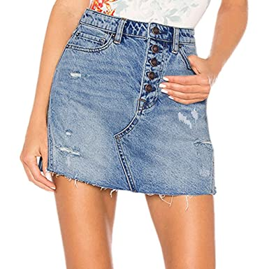 pretty nice cf69a 915f9 Rock Damen Sommer LHWY Frauen Denim Jeans Röcke Reißverschluss Casual Loch  Blau Knöpfe Kurz Mini Kleid Lässige Hohe Taille Rock Student