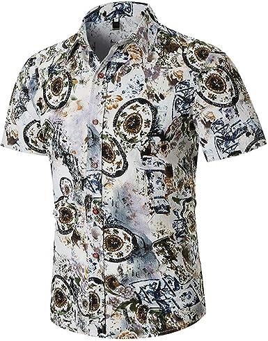 Imakcc - Camisa de Manga Corta para Hombre, Estilo Hipster - Verde - XX-Large: Amazon.es: Ropa y accesorios