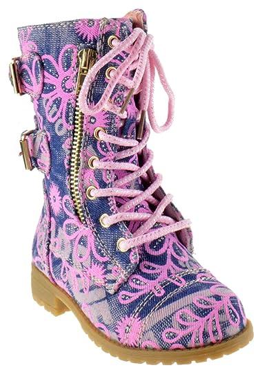 155f1c92acdc Mango 61K Little Kids Combat Lace up Boots Denim Floral 1
