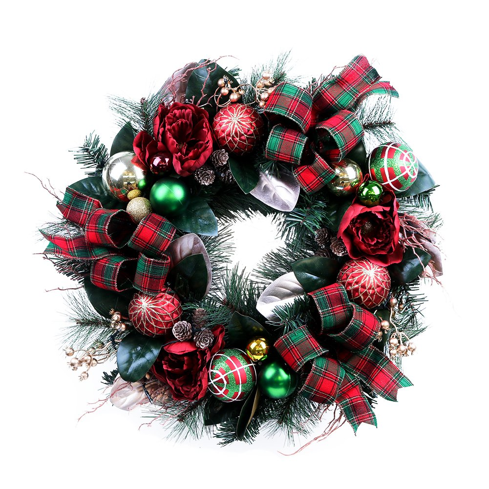 Teresa's Collections Pre-Lit 24 Inch Country Road Red Green and Gold Christmas Wreath with Ball Ornaments,Berries,Pine Cones,Tartan Ribbons and Flowers,Battery Operated 20 LED Lights