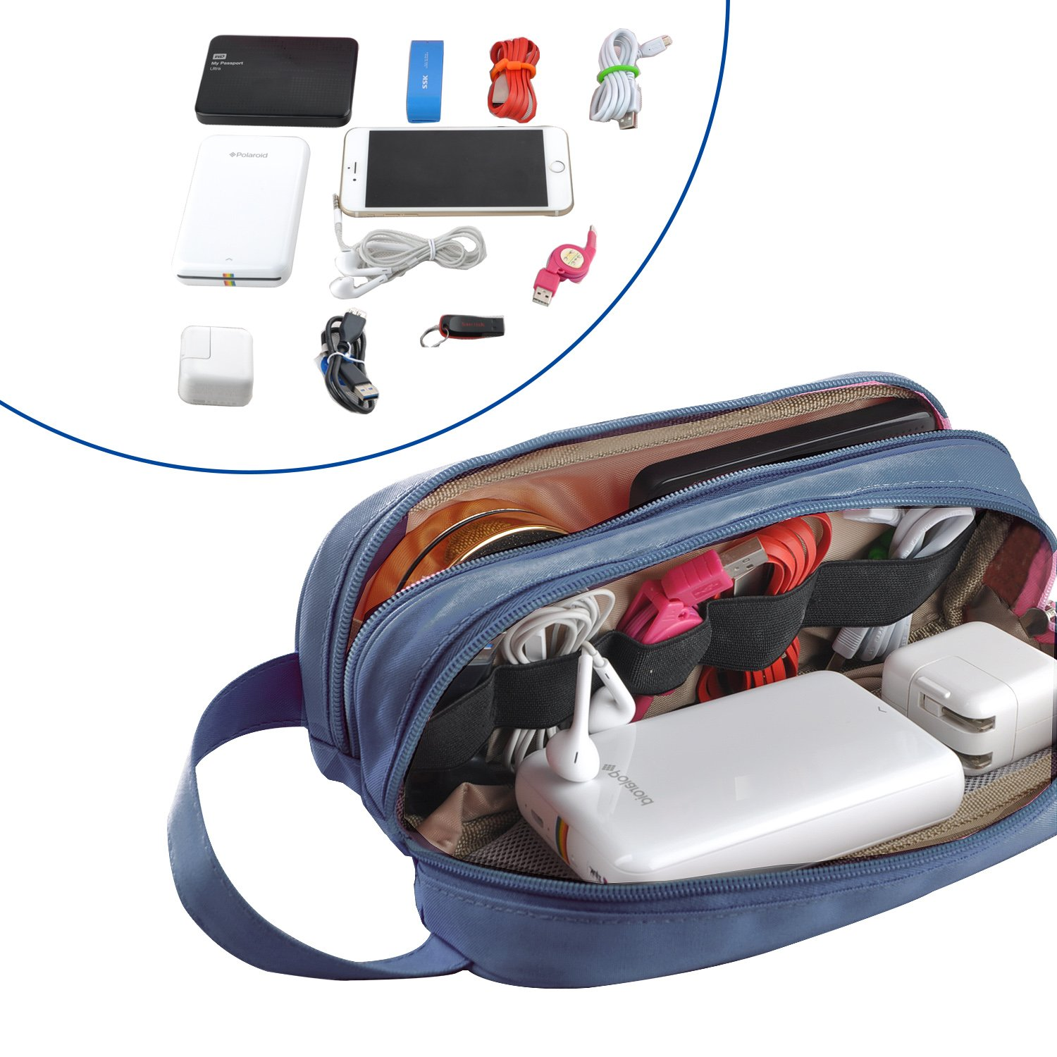 Kitron(TM) Universal Cable Cord Holder Organizer/Electronics Accessories Case Healthcare & Grooming Kit USB Drive Shuttle-an All in One Travel Organizer (Blue) by KITRON (Image #6)