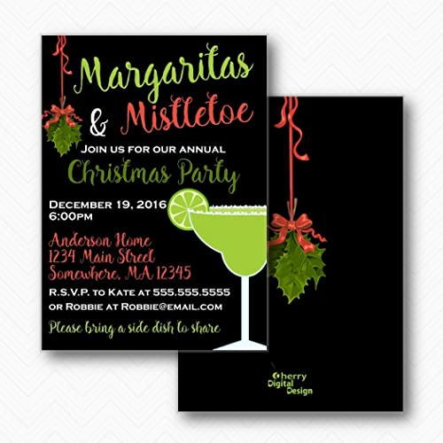 amazon com margaritas mistletoe christmas party invitations