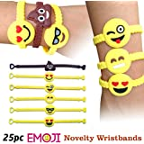 Emoji Novelty Toy Rubber Wristband Bracelets for Children - 25 Mixed Design Pack by Emoji Designs