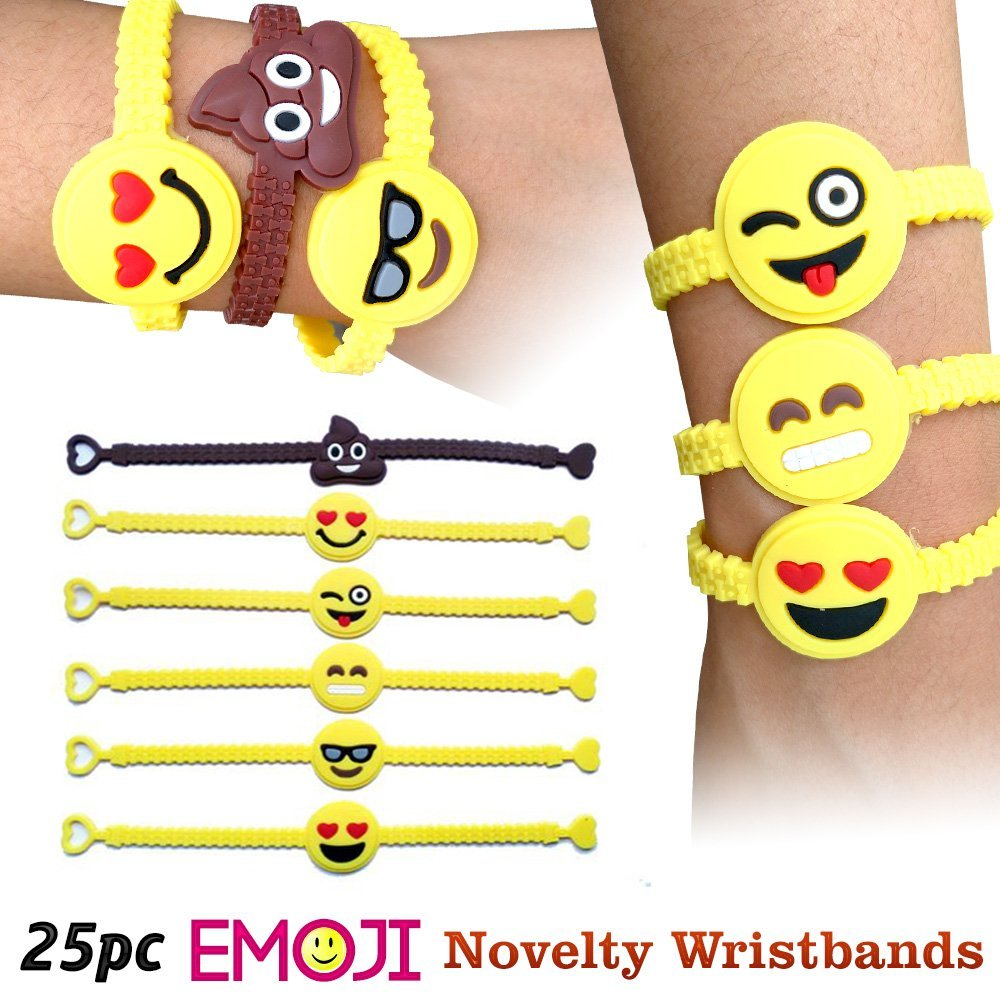 Emoji Novelty Toy Rubber Wristband Bracelets for Children - 25 Mixed Design Pack by Emoji Designs