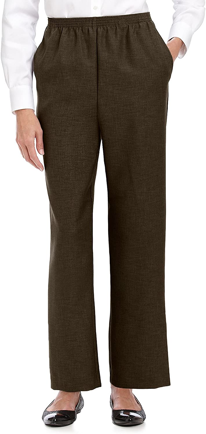Alfred Dunner Petites' Pull-on Flat-Front Pants Brown 12P