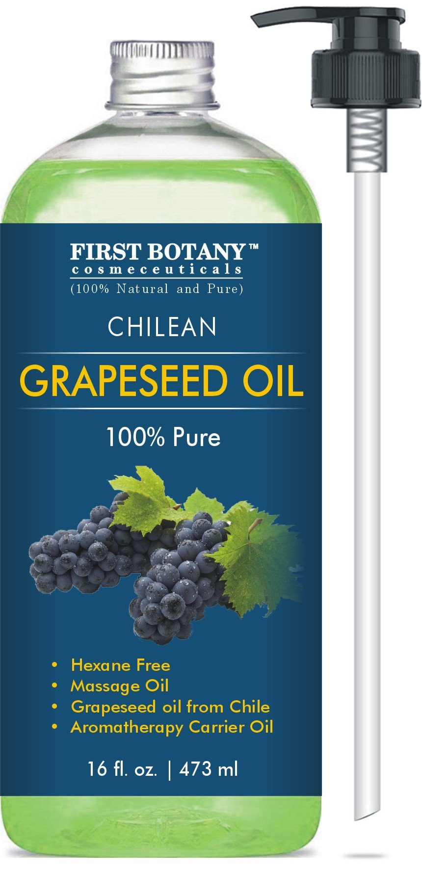 100 % Pure Chilean GrapeSeed Oil 16 fl. oz - The BEST Emollient for Softer Skin, beautiful Hair & Health