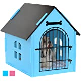 ROYAL CRAFT WOOD Dog House Crate Indoor Kennel for Small Dogs, Cats, Pet Home with Door and Bed Mat (BLUE/PINK)