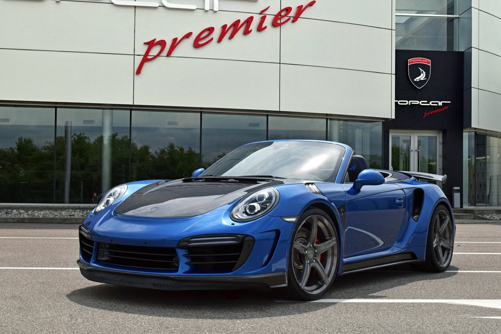 Amazon.com: Porsche 911 Turbo Stinger GTR Cabriolet by TopCar (2017) Car Print on 10 Mil Archival Satin Paper Blue Front Side Static View 11