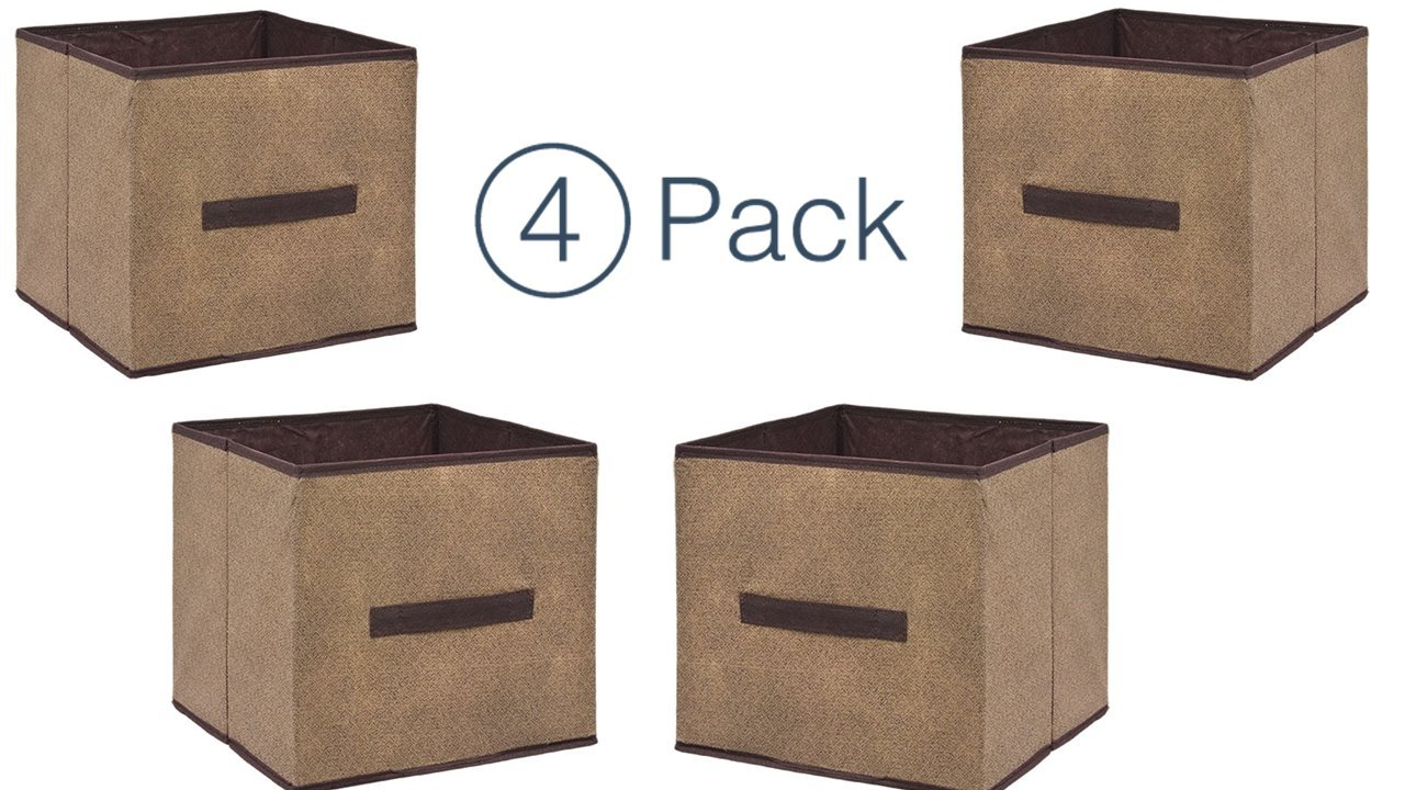 Storage Cube Organizer - Small Collapsible Storage Cubes in Brown (4) Closet Organizers - Storage Container With Handle - Under The Bed Storage Drawers