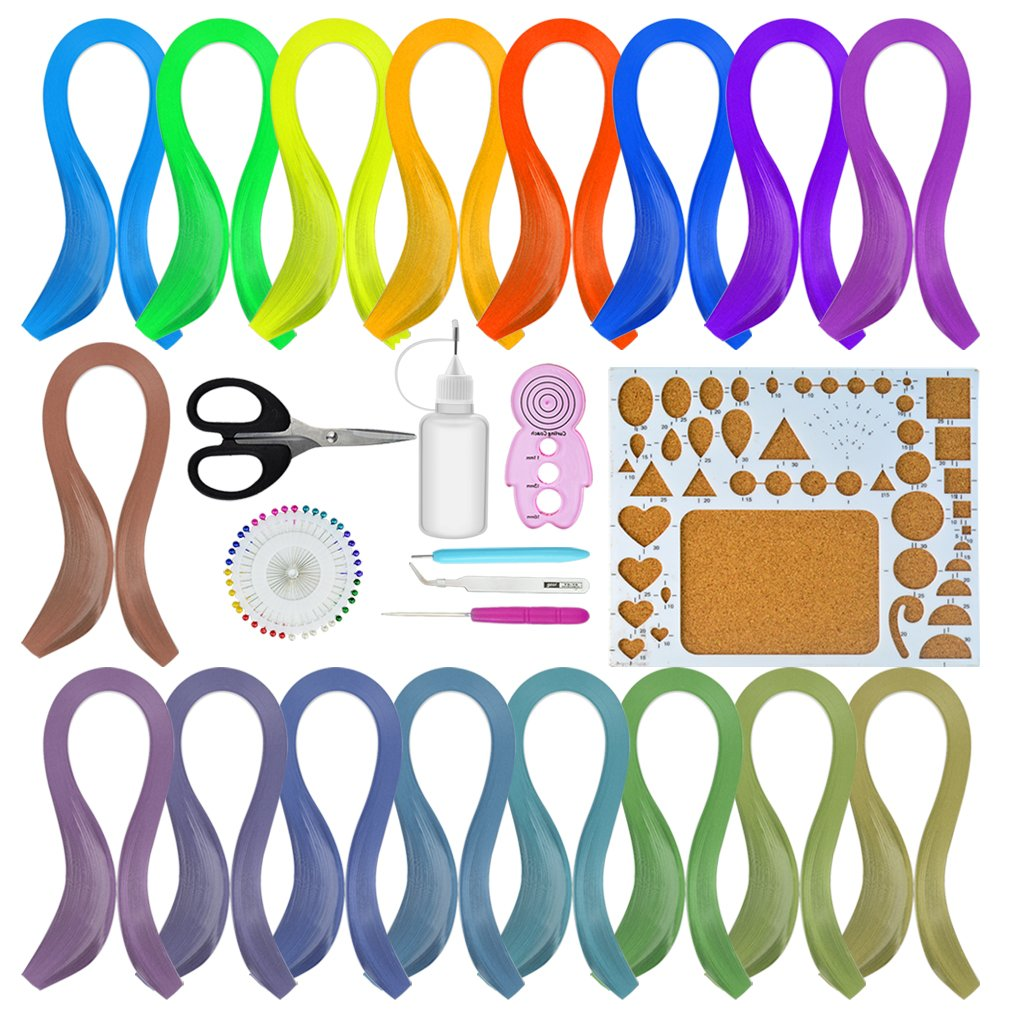Quilling Paper Kit, Bantoye 1750 Strips Art Paper in 35 Colors with 8 Pcs Different Quilling Tools for DIY Crafting, 5mm