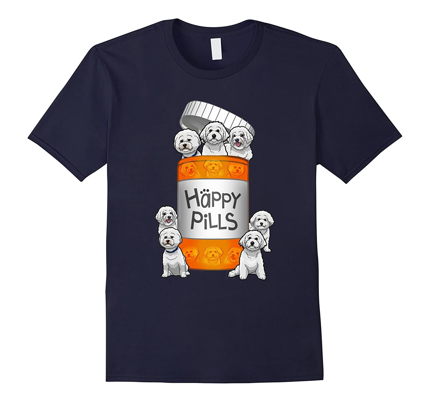 Bichon Frise Happy Pills T-shirt-Vaci