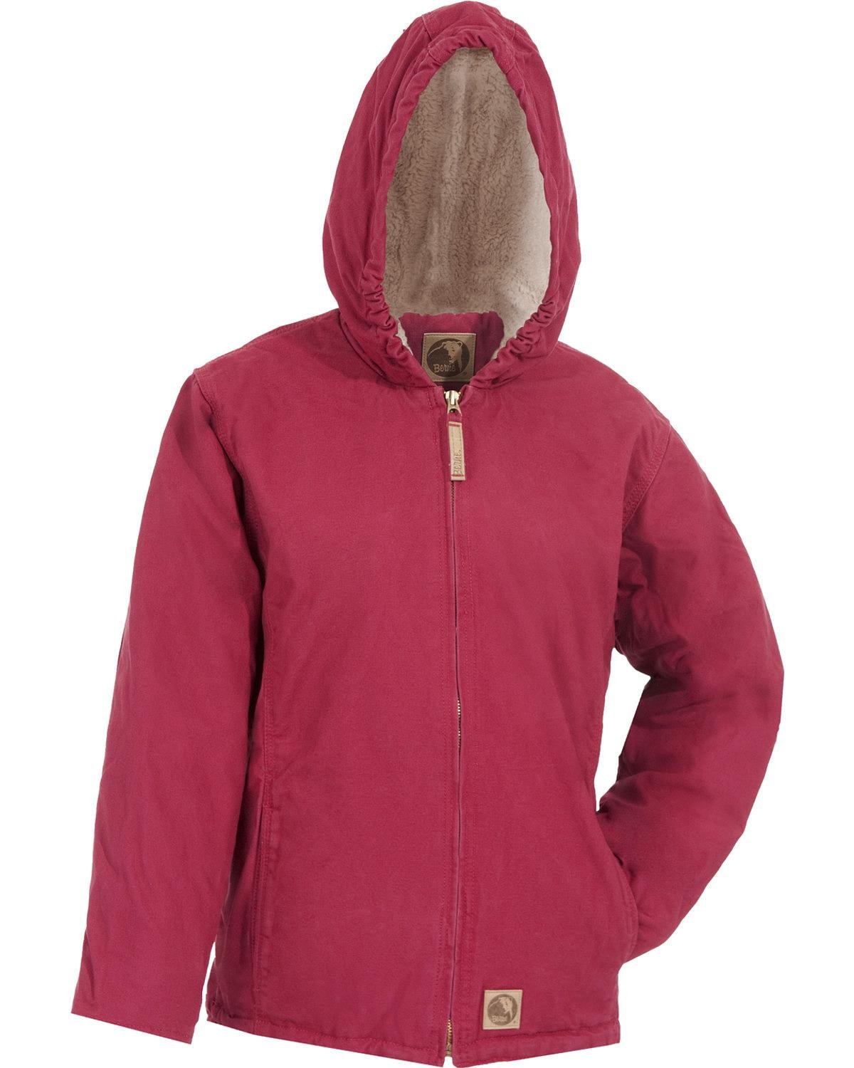 Berne Girls' Washed Sherpa-Lined Hooded Jacket Berry X-Small