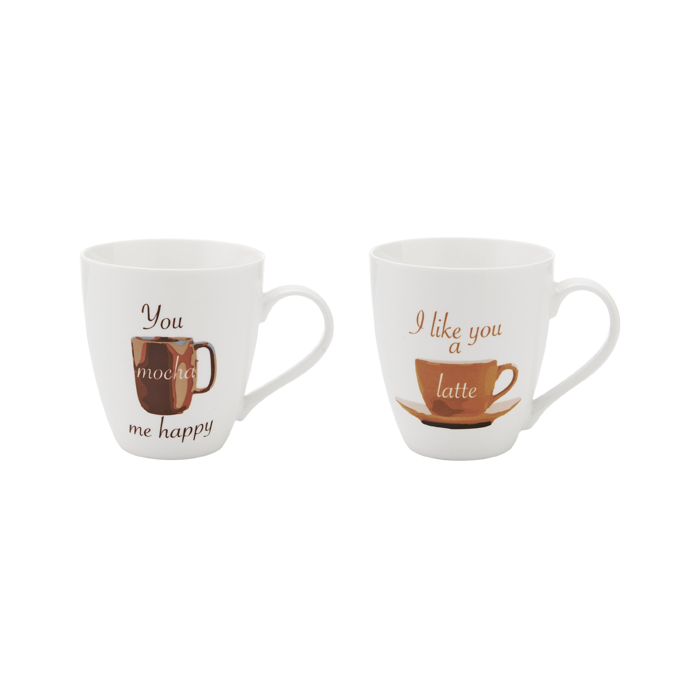 Pfaltzgraff Everyday Mug, You Mocha Me Happy and I Like You A Latte, 18-Ounce, Set Of 2-5161883 by Pfaltzgraff