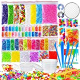 OPount 72 Pack Fishbowl Supplies Kit for Slime, Including Foam Balls, Fishbowl Beads, Net, Glitter Jars, Pearls, Sugar Paper, Spoon, Storage Containers for Slime Making Craft (Not Contain Slime)