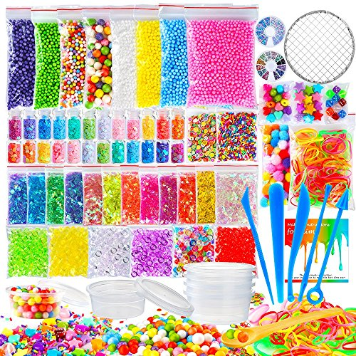(OPount 72 Pack Fishbowl Supplies Kit for Slime, Including Foam Balls, Fishbowl Beads, Net, Glitter Jars, Pearls, Sugar Paper, Spoon, Storage Containers for Slime Making Craft (Not Contain Slime))