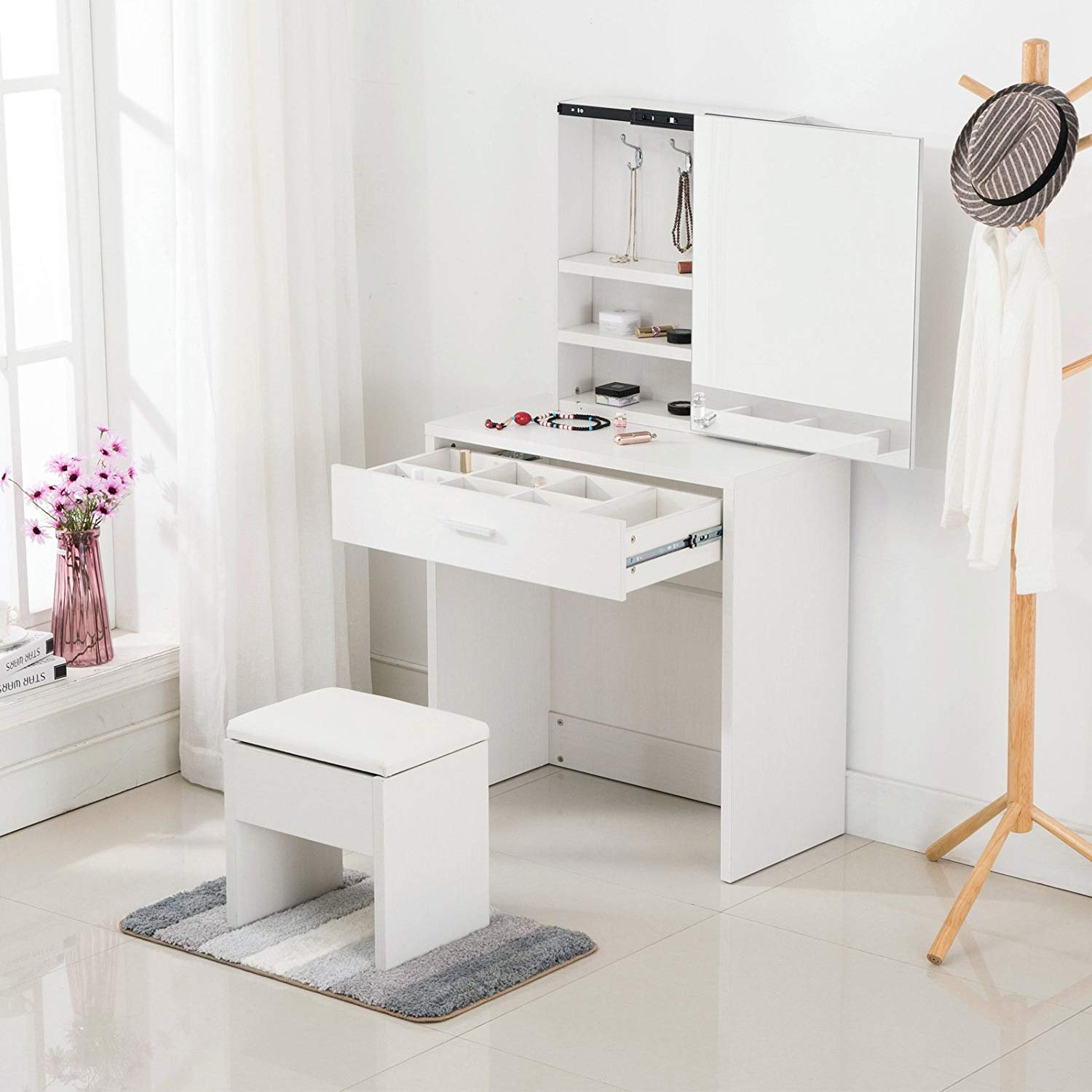 Mecor Vanity Table Set Sliding Mirror/Drawers,Wood Makeup Dressing Table Stool (Espresso)