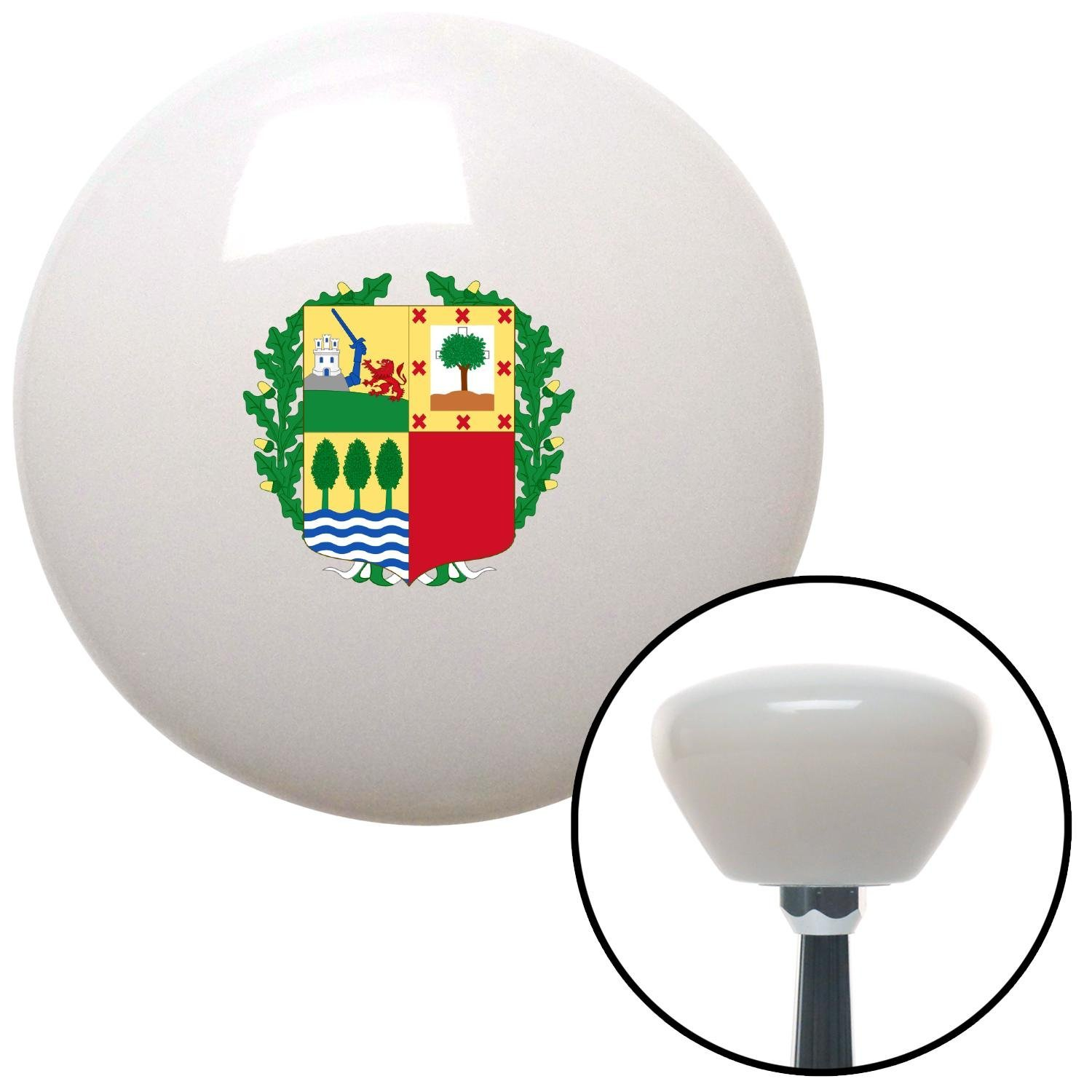 American Shifter 153304 White Retro Shift Knob with M16 x 1.5 Insert Basque Crest