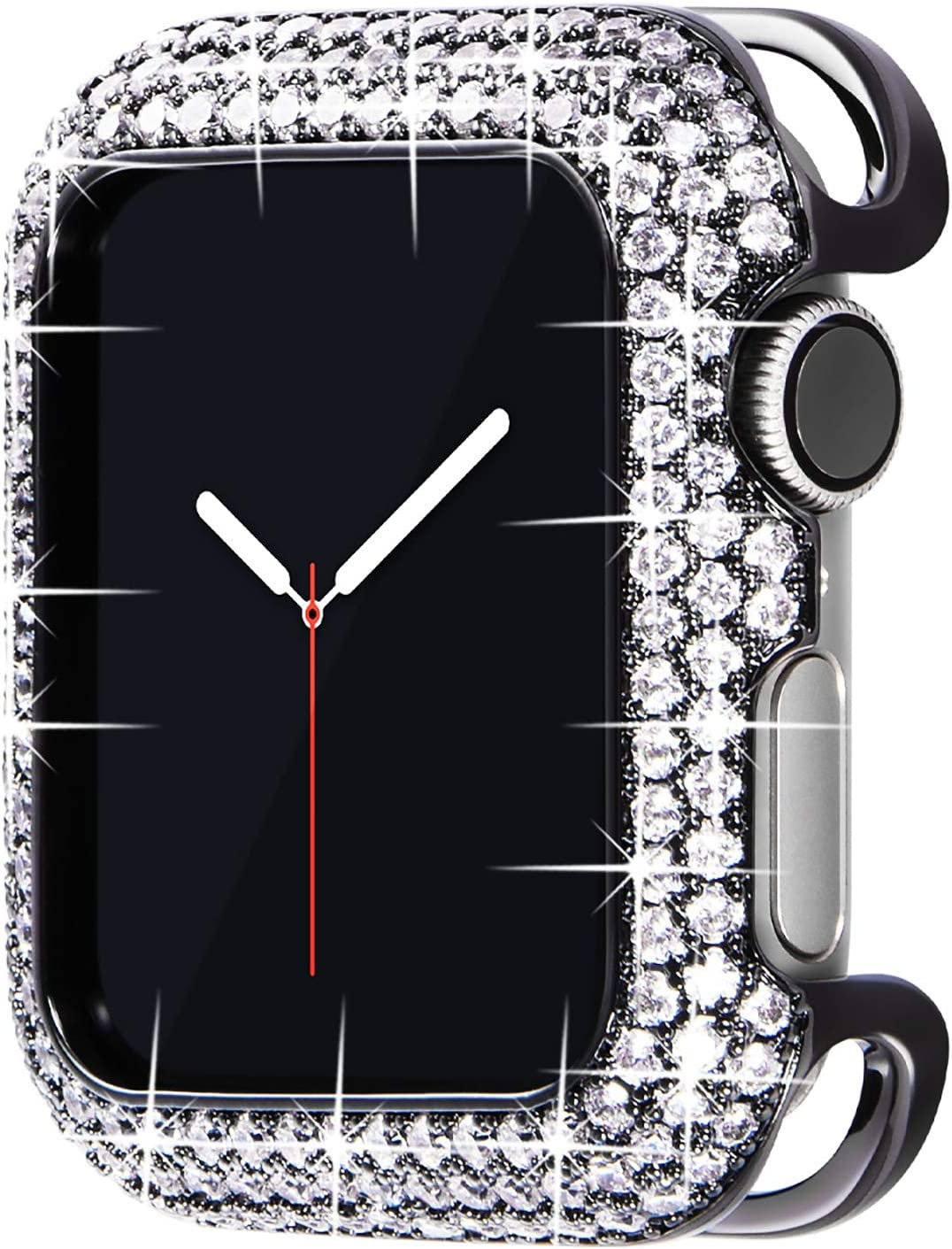 Surace 44mm Bling Case Compatible with Apple Watch Case, Metal Jewelry Protective Case Cover with Cubic Zirconia Crystals Replacement for Apple Watch Series 6/5/4 44mm, Black with Silver Nano Gemstone
