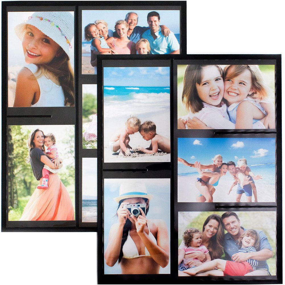 Wind & Sea Magnetic Picture Collage Frame for Refrigerator, 2-Pack, Black Wind and Sea
