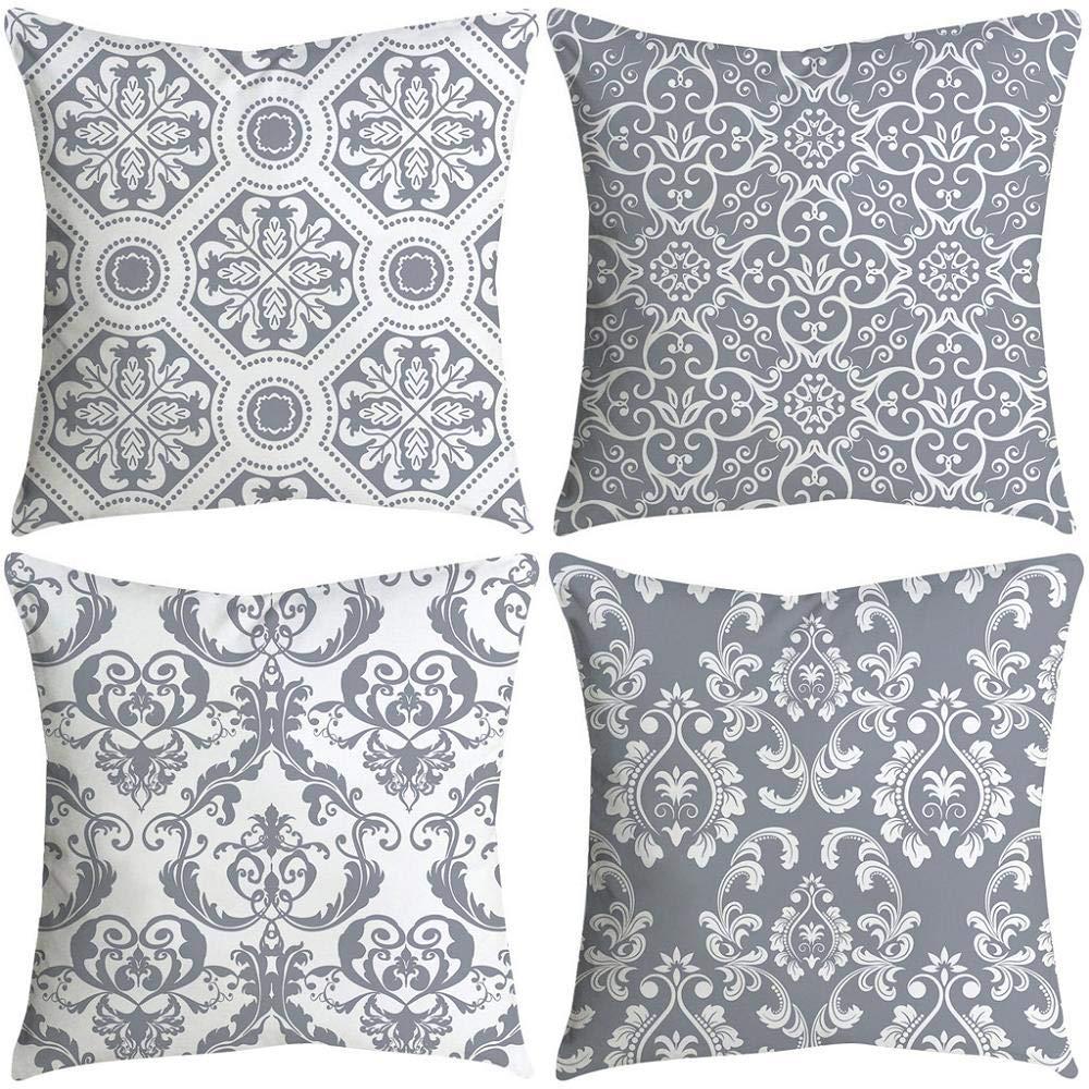 VJGOAL impresión de Moda hogar Decorativo Suave sofá cómodo Cojín Cuadrado Funda de Almohada 4 Piezas Conjunto(45_x_45_cm,Multicolor8)