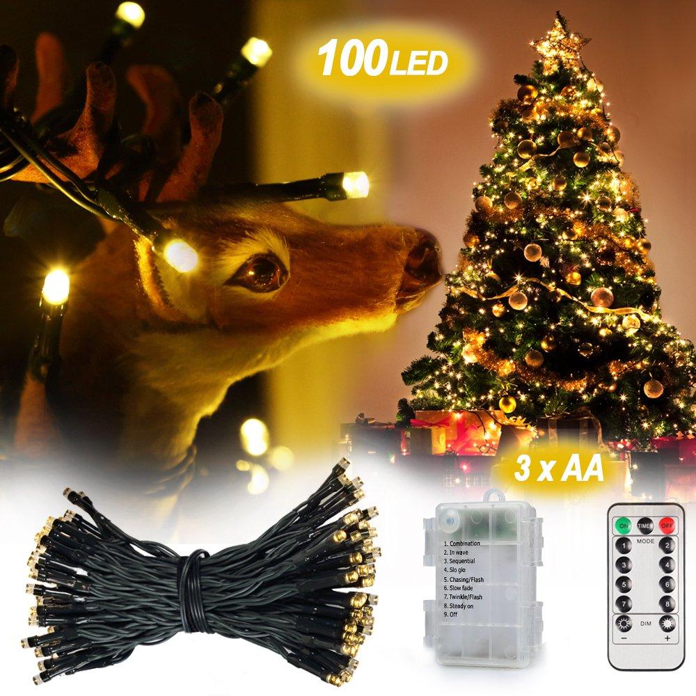 Weihnachtsbeleuchtung Mit Timer.Fernbedienung Und Timer Lichterkette 10m 100er Dimmbare