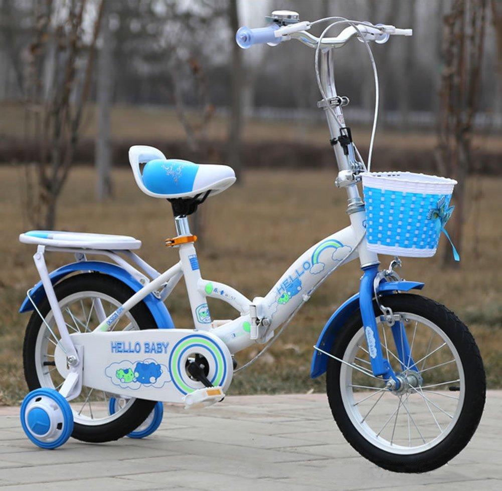 子供用折りたたみ自転車, 学生折りたたみ自転車 赤ちゃんの自転車 ベビーカー 超軽量 ポータブル 折りたたみ自転車 5 9 年古い B07DGDN4JB青 18inch