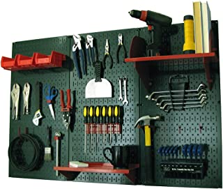 product image for Pegboard Organizer Wall Control 4 ft. Metal Pegboard Standard Tool Storage Kit with Green Toolboard and Red Accessories