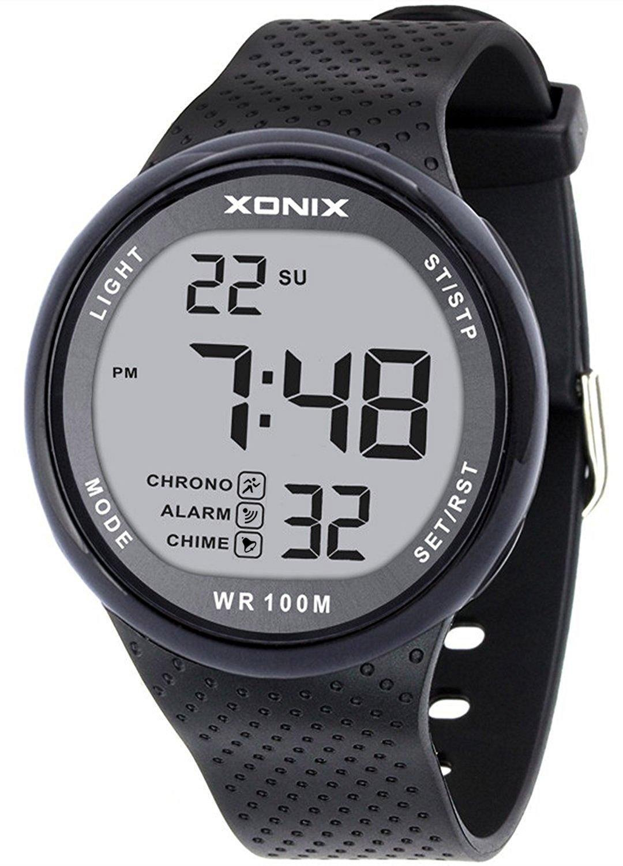 Vogue Men's 100M Waterproof Sports Black Resin Large Digits Digital Dive Basic Watch (Can Be Pressed Underwater) by TOMORO