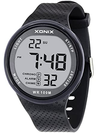 Amazon.com: Vogue Mens 100M Waterproof Sports Black Resin Large Digits Digital Dive Basic Watch (Can Be Pressed Underwater): TOMORO: Watches